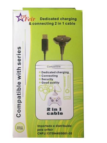 Imagem de Cabo Dedicado 2 Em 1 Carregador Bateria e Cabo Usb para Controle Xbox 360 FEIR FR-309