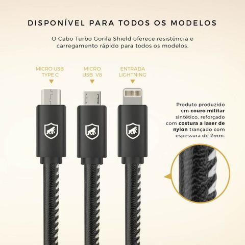 Imagem de Cabo turbo Militar micro USB Gorila Shield para lg G4 Stylus