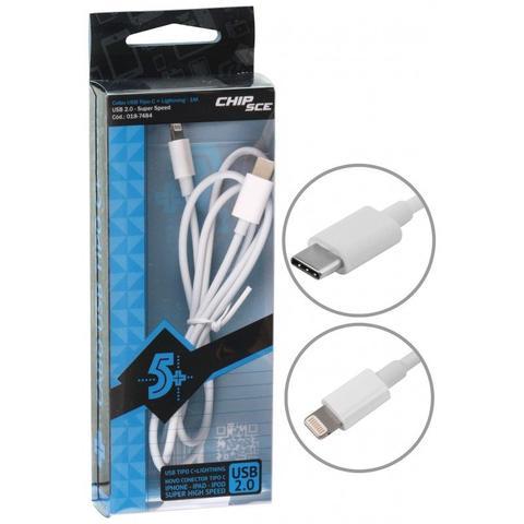 Imagem de Cabo USB Tipo C + Lightning para iPhone, iPad e iPod - 1 Metro - ChipSCE - 018-7484