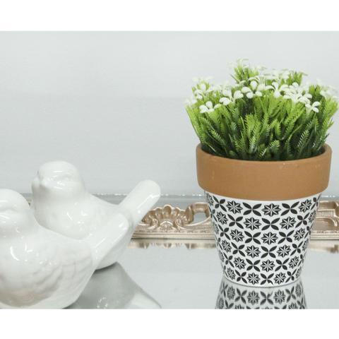 Imagem de Cachepot Vaso Cerâmica Modelo IV Preto e Branco Cachepô