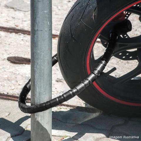 Imagem de Cadeado Antifurto Para Moto Vonder Trava Tranca Com Chave Tipo Corrente em Aço e Plastico Reforçado