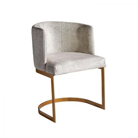 Imagem de Cadeira Acolchoada e Base de Aço Classic Grebel Móveis Dourado/Linho Cru