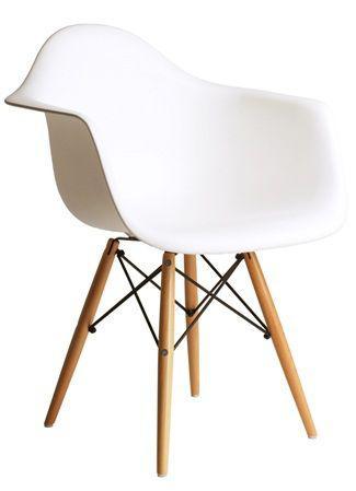 Imagem de Cadeira Charles Eames c/ braço DAW - Base Madeira Branca umix