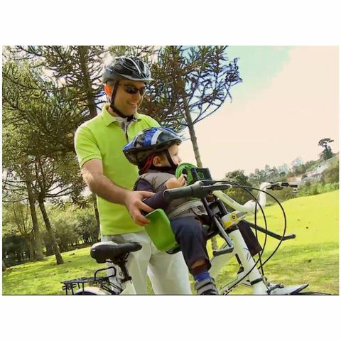 Imagem de Cadeira De Bicicleta Dianteira Frontal Cadeirinha Com Volante Azul Oferta