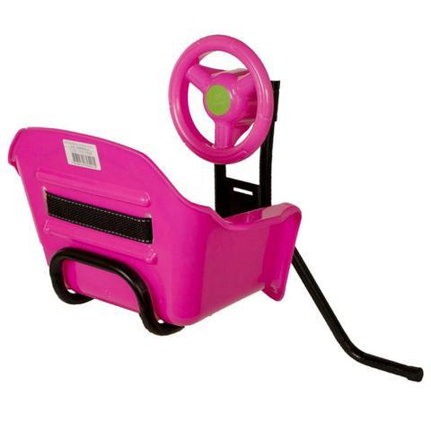 Imagem de Cadeira De Bicicleta Dianteira Frontal Cadeirinha Com Volante Rosa Oferta