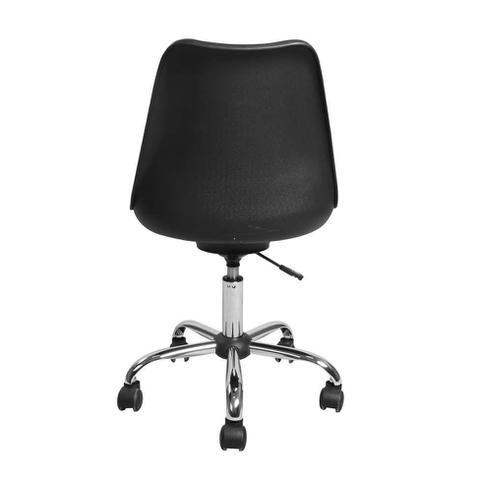 Imagem de Cadeira de Escritório Giratória em Polipropileno assento Estofado Preto pés Cromados - Eames Eiffel