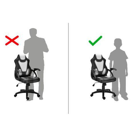 Imagem de Cadeira de Escritório Juvenil Giratória Gamer Wild Preta e Branca