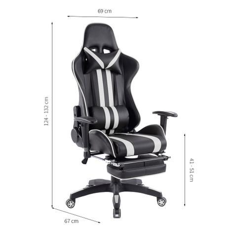 Imagem de Cadeira de Escritório Presidente Reclinável Gamer Preta e Branca