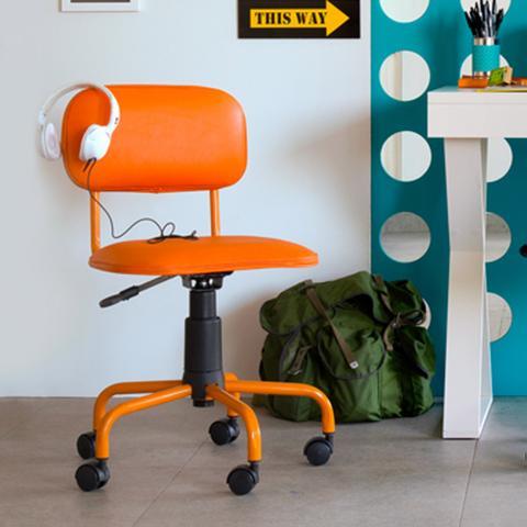 Imagem de Cadeira de Escritório Secretária Giratória Color Pistão a Gás Corano Laranja