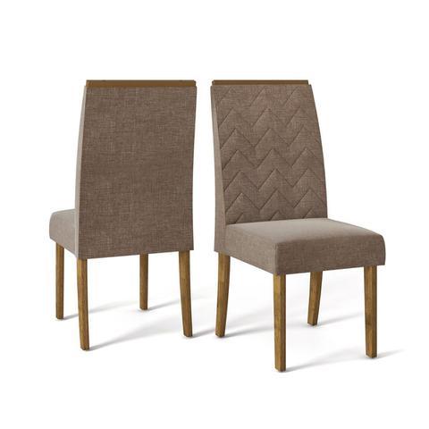 Imagem de Cadeira de Jantar Estofada Áurea (kit 2 unidades) DJ Móveis(DemoliçãoLinho Bronze)