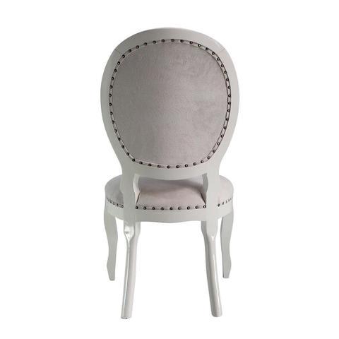 Imagem de Cadeira de Jantar Medalhão Capitonê com Tachas Branco Brilho e Animale Off White