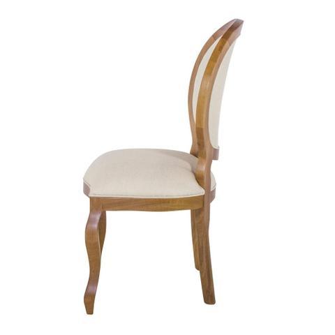 Imagem de Cadeira de Jantar Medalhão Lisa Whisky fosco Tecido Linho Cru Jequitibá - Wood Prime 16144