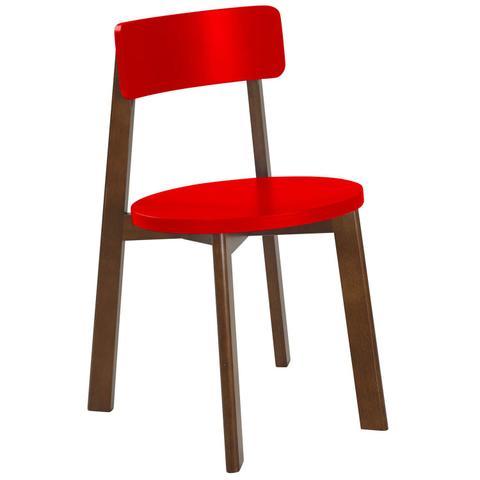 Imagem de Cadeira de Madeira Lina Maxima Cacau/Vermelho