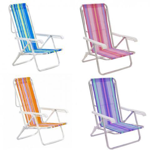 Imagem de Cadeira de Praia em Aluminio Reclinavel 8 Posicoes Mor Cores Mistas