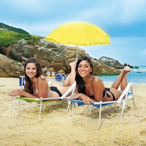 Imagem de Cadeira de Praia Mor Sannet em Alumínio e Poliéster Reclinável 8 Posições Azul