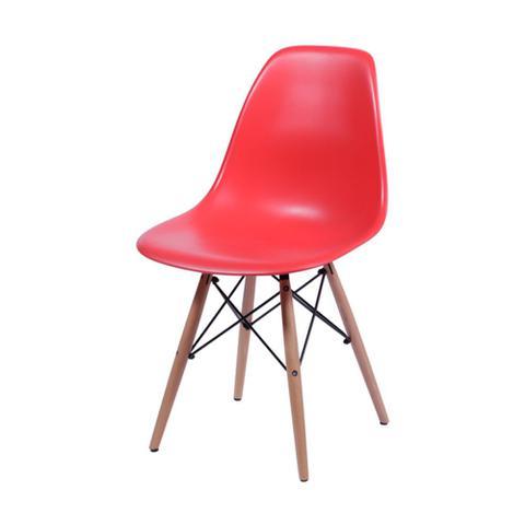 Imagem de Cadeira Eames Dkr Vermelho Com Base Em Madeira