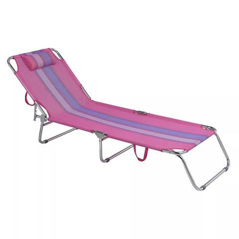 Imagem de Cadeira Espreguicadeira Em Aluminio Rosa Mor 2418