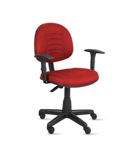 Imagem de Cadeira exec. majestic c/ costura em base giratória c/ braço regulável - tecido crepe vermelho - pp88