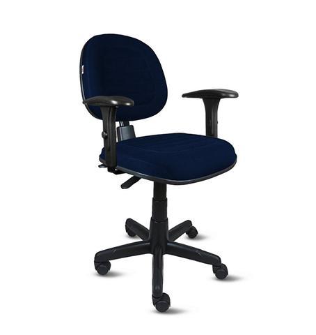 Imagem de Cadeira exec. ômega ergonômica c/costura base giratória c/braço regulável-tecido crepe azul escuro/marinho-pp23
