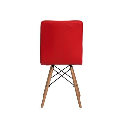 Imagem de Cadeira Gomos Vermelha Base Madeira