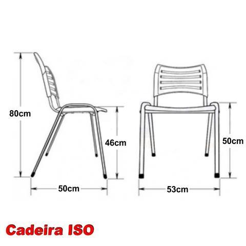 Imagem de Cadeira ISO Plástica (Kit 03) Para Igrejas, Sorveterias, Restaurante - AMARELA - KASMOBILE