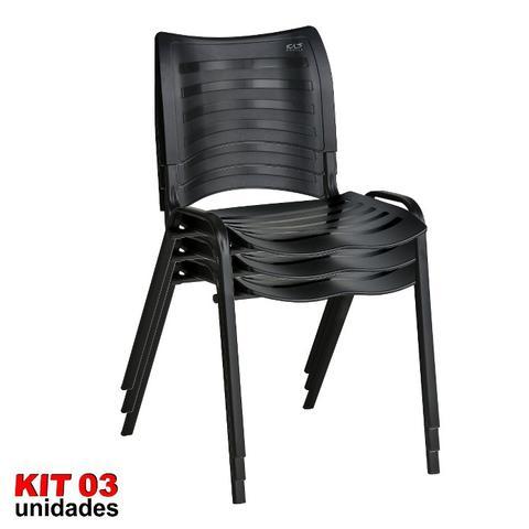 Imagem de Cadeira ISO Plástica (Kit 03) Para Igrejas, Sorveterias, Restaurante - PRETA - KASMOBILE