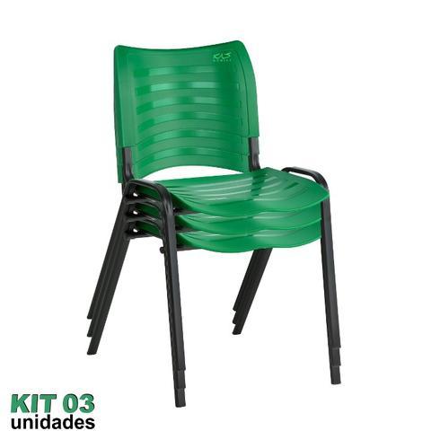 Imagem de Cadeira ISO Plástica (Kit 03) Para Igrejas, Sorveterias, Restaurante - VERDE - KASMOBILE