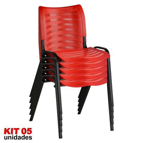 Imagem de Cadeira ISO Plástica (Kit 05) Para Igrejas, Sorveterias, Restaurante - VERMELHA - KASMOBILE