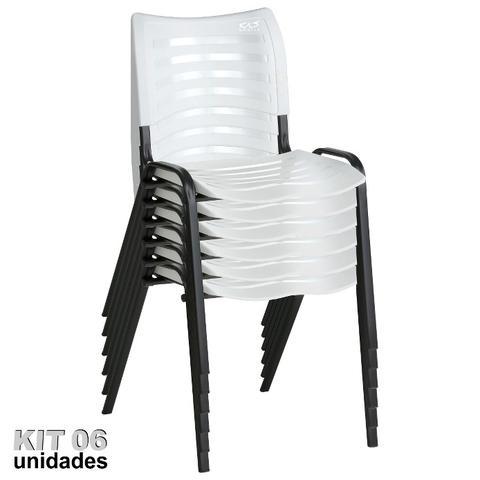 Imagem de Cadeira ISO Plástica (Kit 06) Para Igrejas, Sorveterias, Restaurante - BRANCA - KASMOBILE