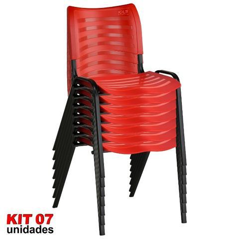 Imagem de Cadeira ISO Plástica (Kit 07) Para Igrejas, Sorveterias, Restaurante - VERMELHA - KASMOBILE