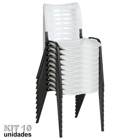 Imagem de Cadeira ISO Plástica (Kit 10) Para Igrejas, Sorveterias, Restaurante - BRANCA - KASMOBILE