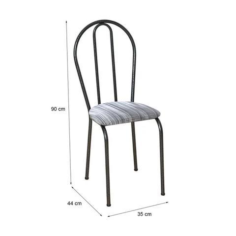 Imagem de Cadeira Tubular Cromo Preto 004 Assento Linho