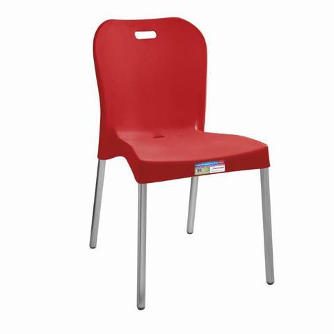 Imagem de Cadeira Vermelha com Pé Aluminio Sem Braço ref 363 Paramount Plasticos