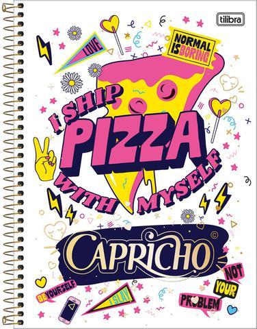 Imagem de Caderno Capricho 10 Matérias 200 Folhas Coleção 2019 Pizza - Tilibra