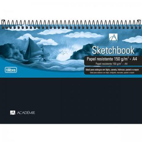 Imagem de Caderno Sketchbook Espiral Capa Plástica A4 Académie 50 Folhas Tilibra