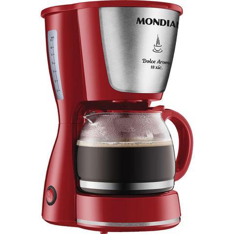 Imagem de Cafeteira Elétrica 18 Xícaras Mondial Dolce Arome C-35 Vermelha e Prata