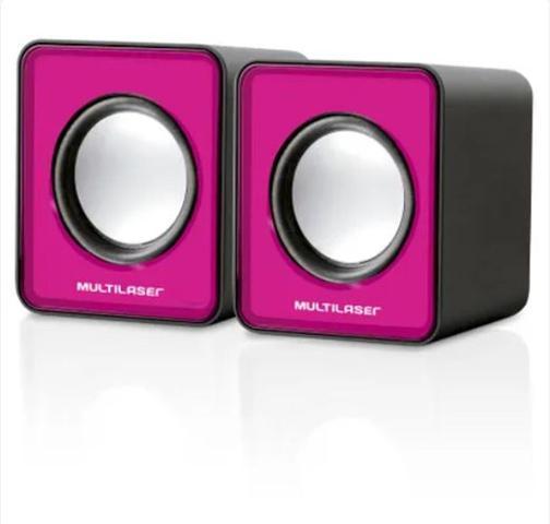 Imagem de Caixa de som 2.0 mini 3w rosa multilaser sp198