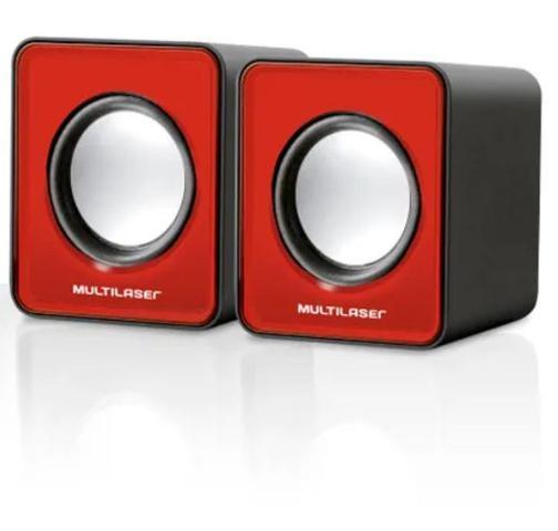 Imagem de Caixa de som 2.0 mini 3w vermelha multilaser sp197