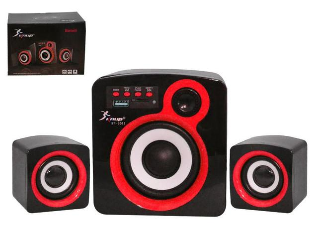 Imagem de Caixa de Som 2.1 Subwoofer com Bluetooth FM USB SD CARD e Cabo Auxiliar 16W Vermelho KP-6011 KP-6011 KNUP