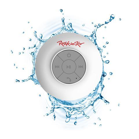 Imagem de Caixa de Som Aquarius Acqua Rock in Rio Branca MTC1311, Bluetooth, Resistente à Água, Funções Multimídia e Viva-voz