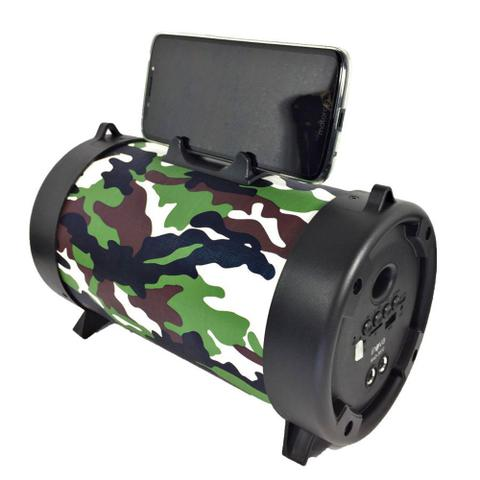 Imagem de Caixa de som bluetooth bazuca amplificada portatil recarregável com alça e suporte p/celular Camuflado