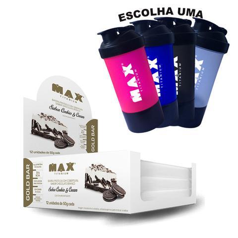 d2b5868b5 Caixa Gold Bar C  12un + Coqueteleira Dupla - Max Titanium - Barra ...