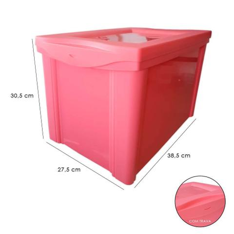 Imagem de Caixa Organizadora Grande Com Trava 30L Rosa Sanremo