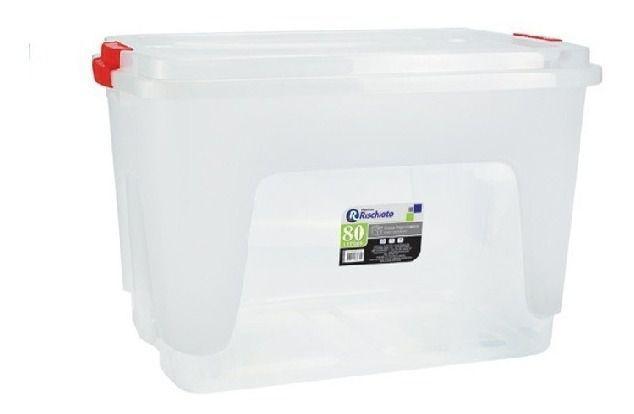 Imagem de Caixa plastica organizadora 80 litros com tampa e travas