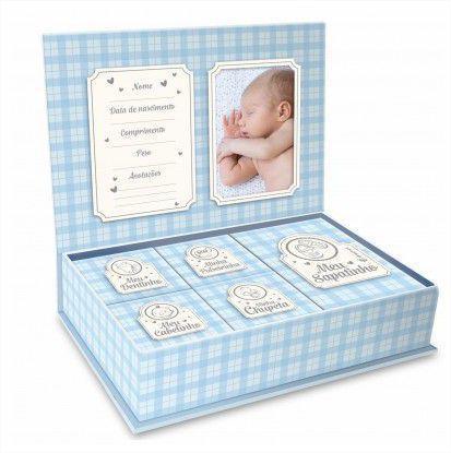 Imagem de Caixa Porta Lembrança Bebê - Meus Pequenos Tesouros Azul Brasfoot