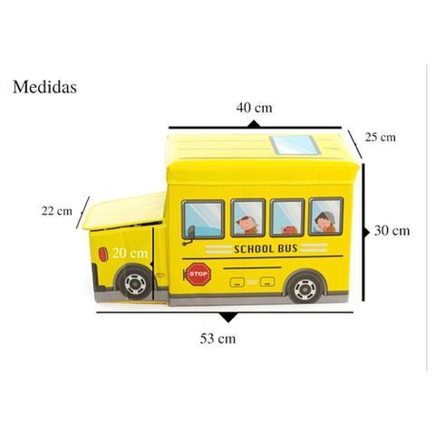 Imagem de Caixa Puff Organizador de Brinquedos 55X26X31cm Ônibus