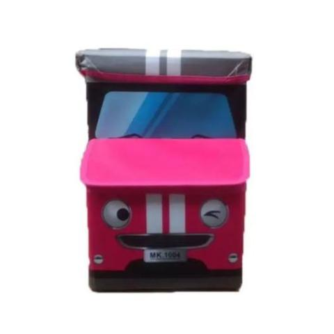 Imagem de Caixa Puff Organizador de Brinquedos 55X26X31cm Ônibus Rosa