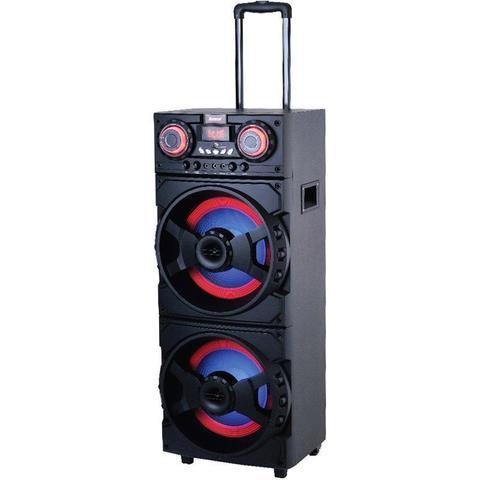 Imagem de Caixa Som Amplificada Bluetooth 1000W Rms 2 Sub Mp3 Fm Usb Sd Aux Led Bivolt Amvox ACA 1001 Preta