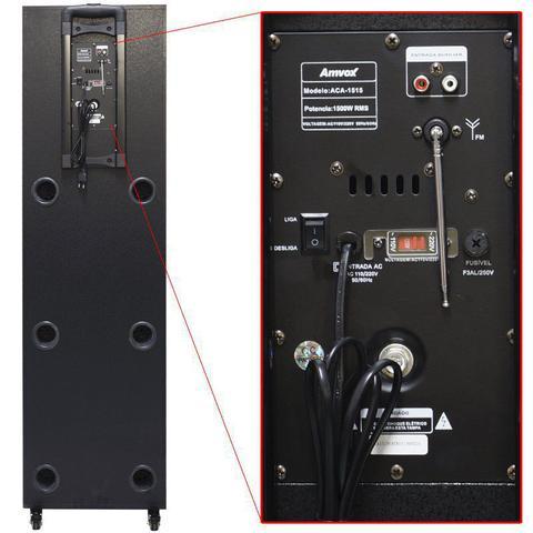 Imagem de Caixa Som Amplificada Bluetooth 1500W Rms 3 Sub Mp3 Fm Usb Sd Aux Led Bivolt Amvox ACA 1515 Preta