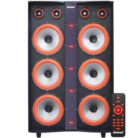 Imagem de Caixa Som Amplificada Bluetooth 3000W Rms 6 Subwoofer Led 2 Microfones Bivolt Amvox ACA 3000 Paredão